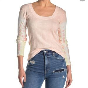 Free People Big Sur Ribbed Top in Soft Pink Combo